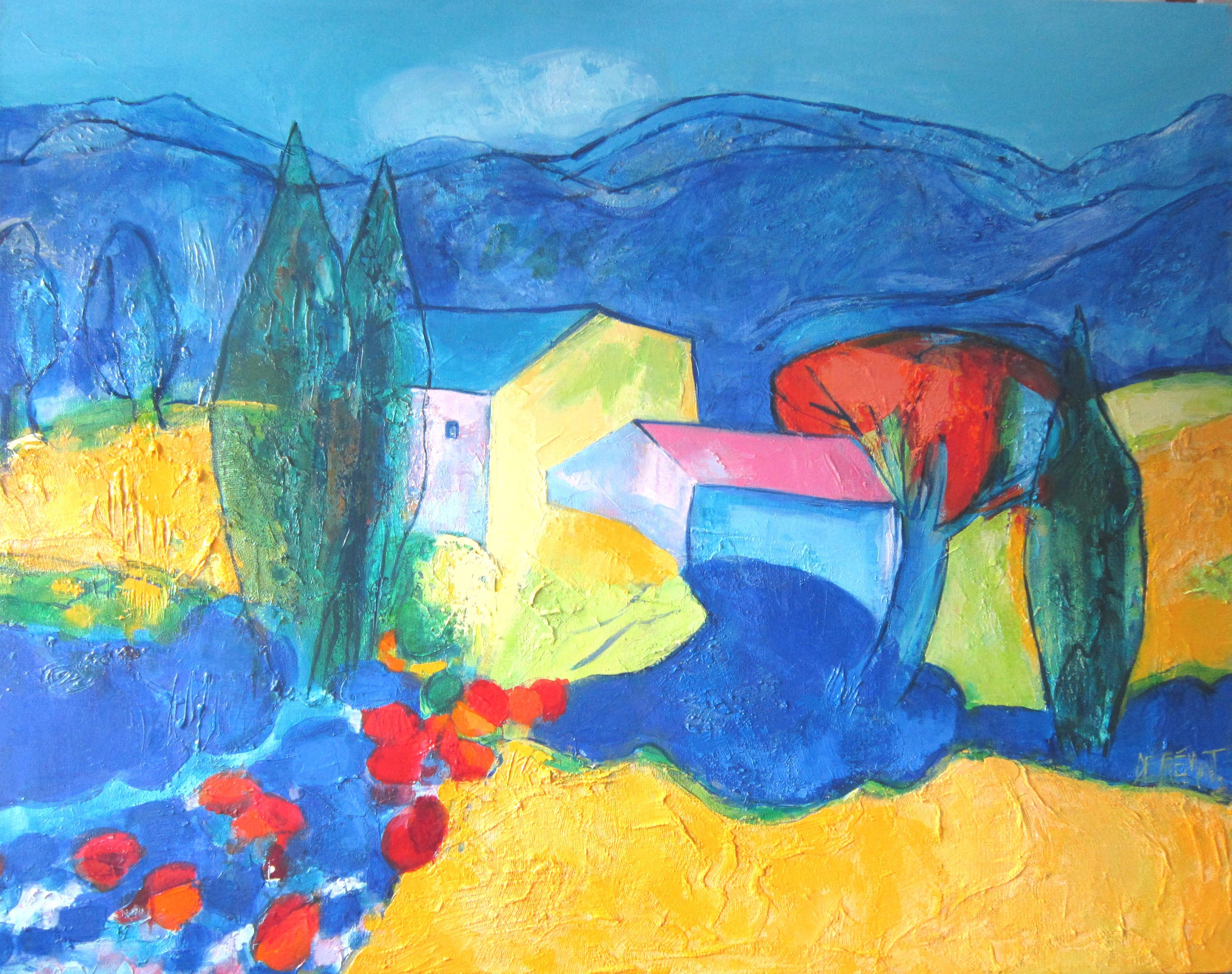"""""""A Nice Summer"""", Colorful Modern Landscape Mixed Media Painting"""