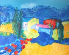 """A Nice Summer"", Colorful Modern Landscape Mixed Media Painting"