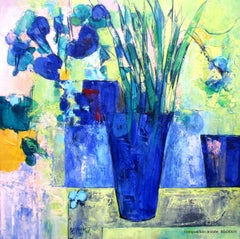 """Aniseed Color"", Blue Bouquet Mixed Media Oil Painting"