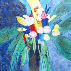 """Leaves and Flowers of the Estuary"", Powerful Bouquet with Large Leaves Painting"