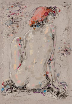 """Éloïse 2"", Back View of a Red-Haired Sitted Nude Woman Mixed Media Painting"