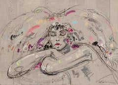 """""""Pensive Sarah"""", Portrait of Crossed Arms Closed Eyes Woman Mixed Media Painting"""
