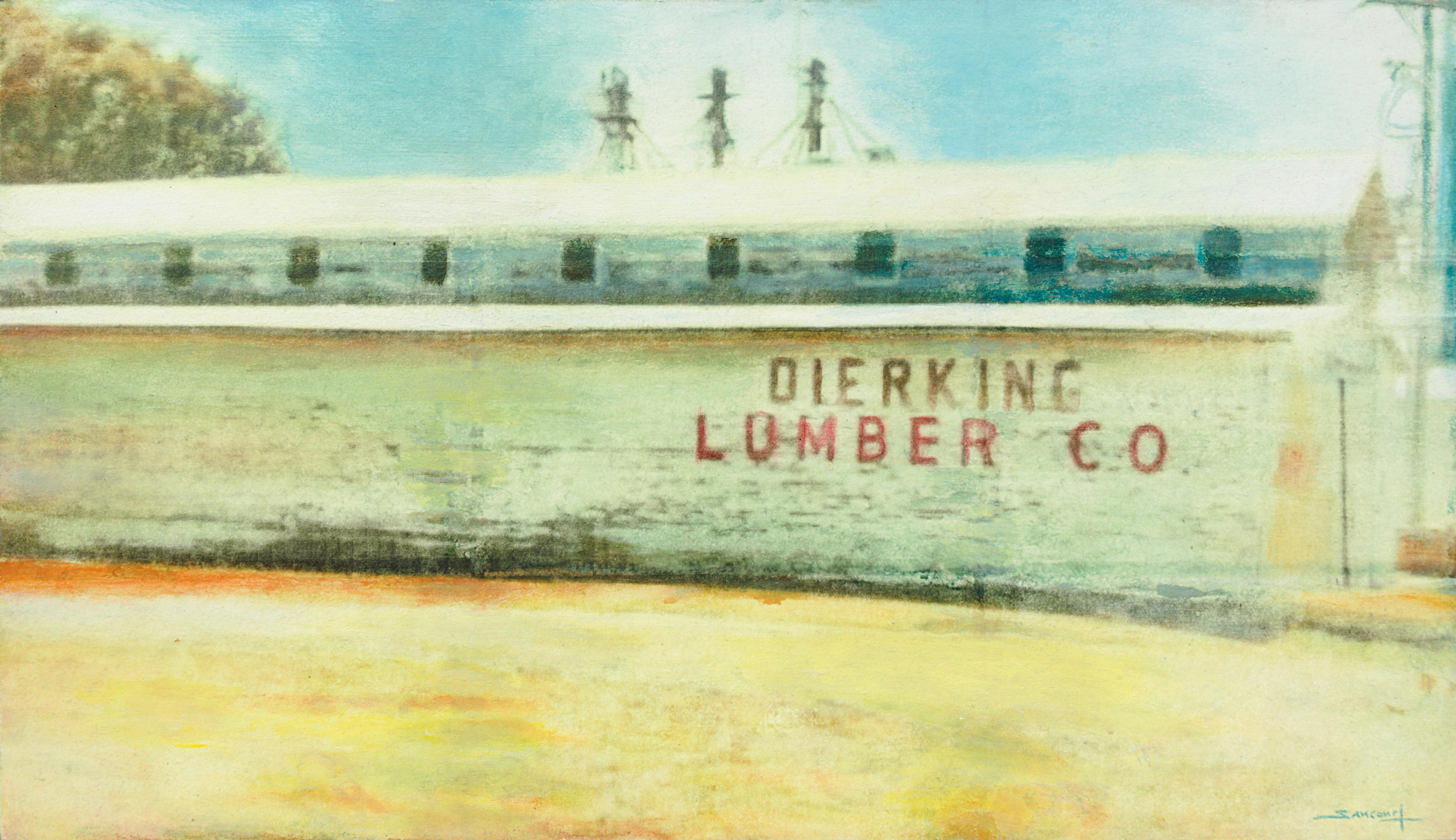 """""""Constructions #11"""", Dierking Lumber Co Shed Vintage Mixed Media Painting"""