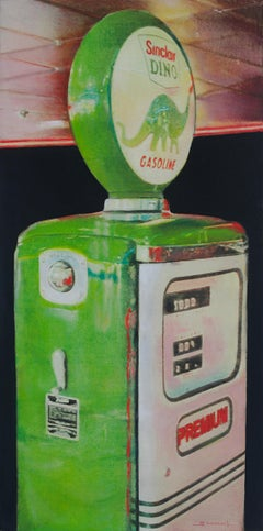 """Sinclar Dino #2"", Green Vintage Gasoline Pump Vertical Mixed Media Painting"