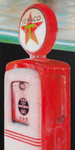 """Texaco #1"", Red Vintage Gasoline Pump Vertical Mixed Media Painting"