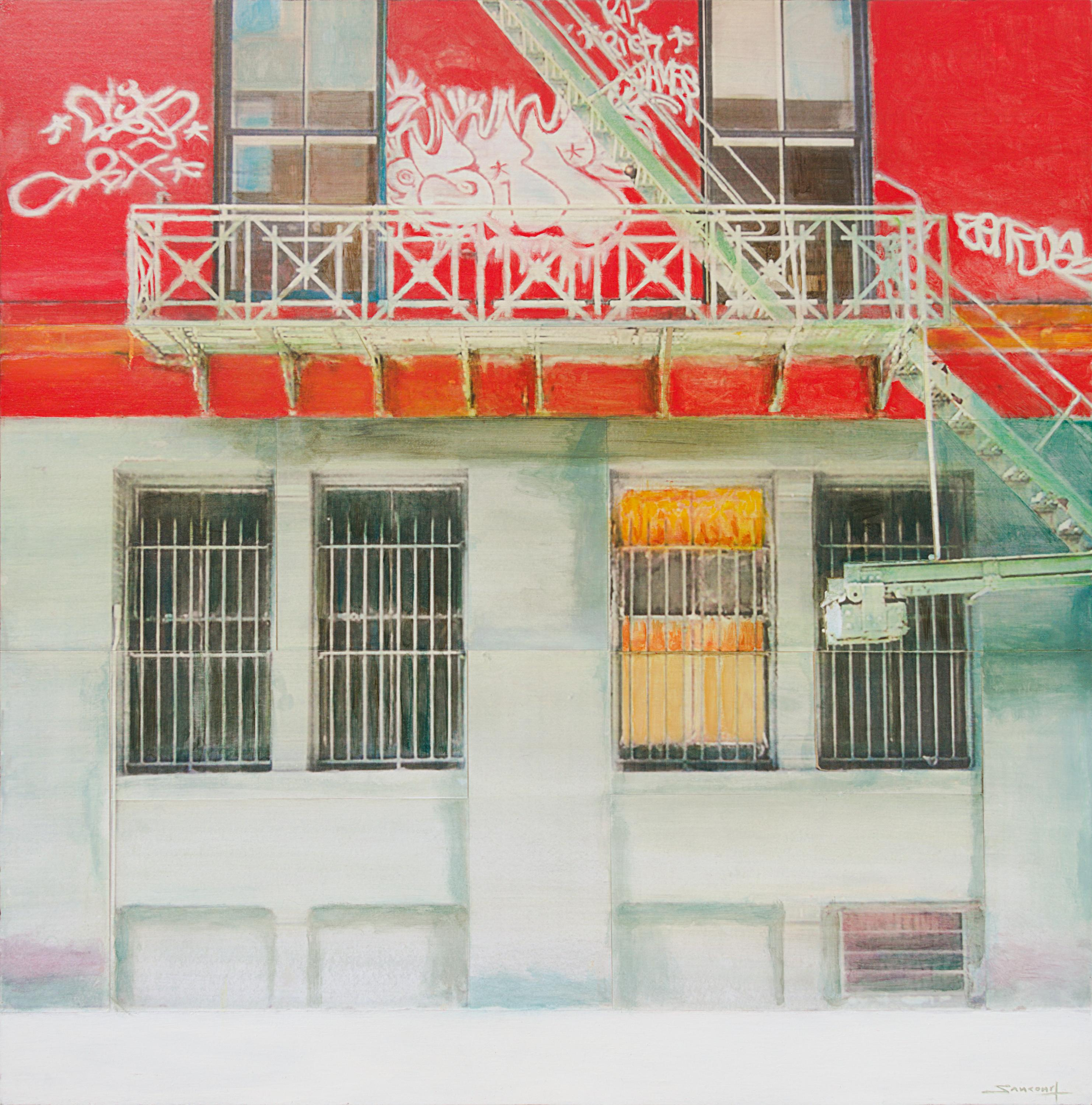 """""""New York Street"""", Spray Painted White and Red Wall with Metal Staircase"""