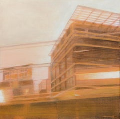 """Night Train #13 (Early Morning)"", Sepia Urban Landscape Mixed Media Painting"