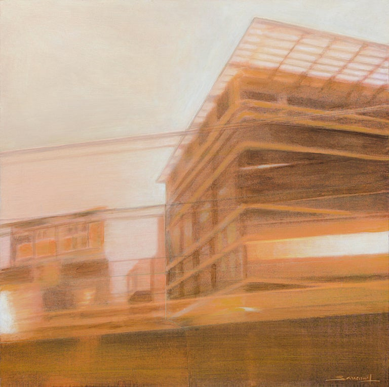"""Night Train #13 (Early Morning)"", Sepia Urban Landscape Mixed Media Painting - Mixed Media Art by Philippe Saucourt"