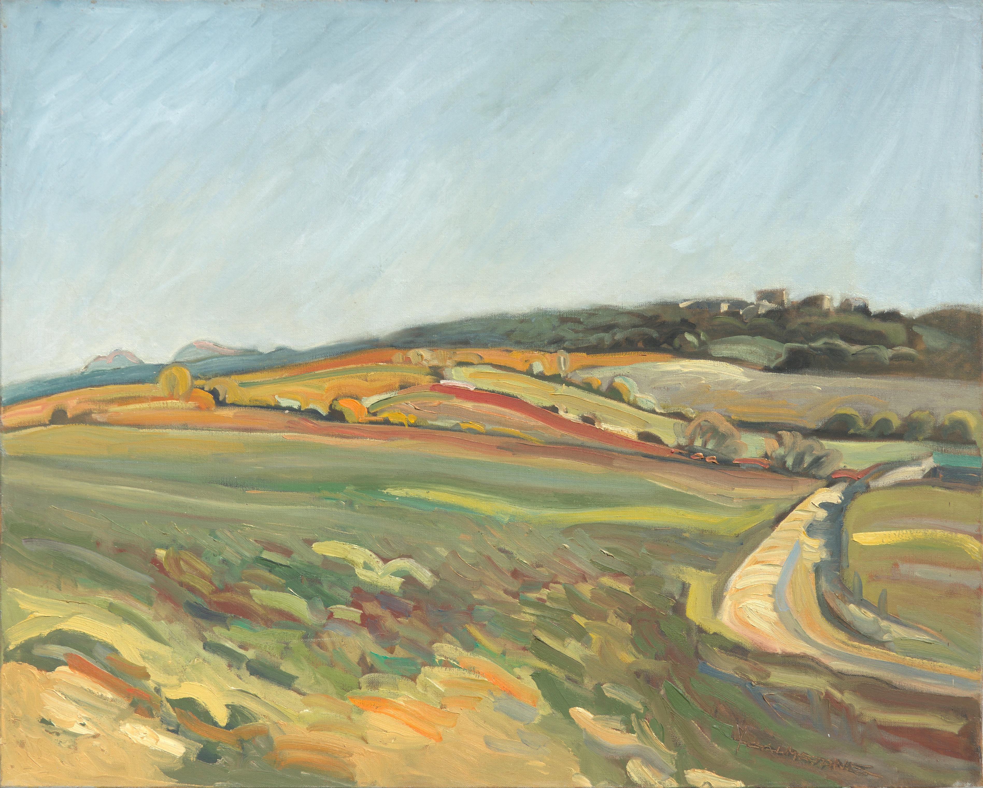 """""""From the Field to the Red Hill"""", Rural Landscape Impressionist Oil Painting"""