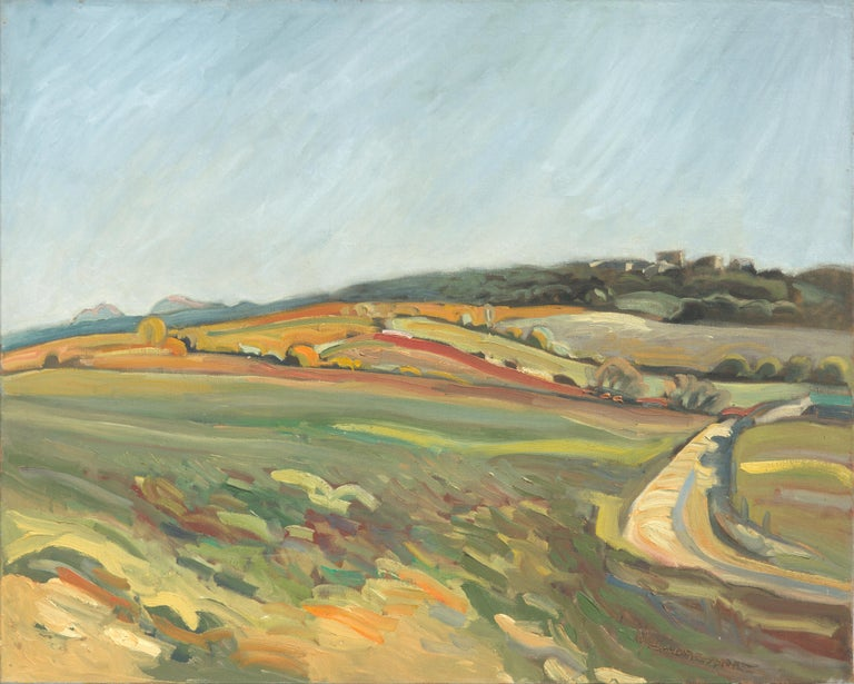 """Yves Calméjane Figurative Painting - """"From the Field to the Red Hill"""", Rural Landscape Impressionist Oil Painting"""