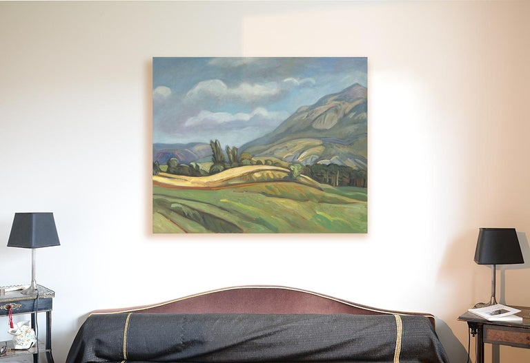 This artwork depicts a rural landscape.  Yves Calméjane usually uses light impasto techniques, with the weft of the canvas often still visible. The reliefs are quite thin, the painting often spread out, with frank touches on some parts of the