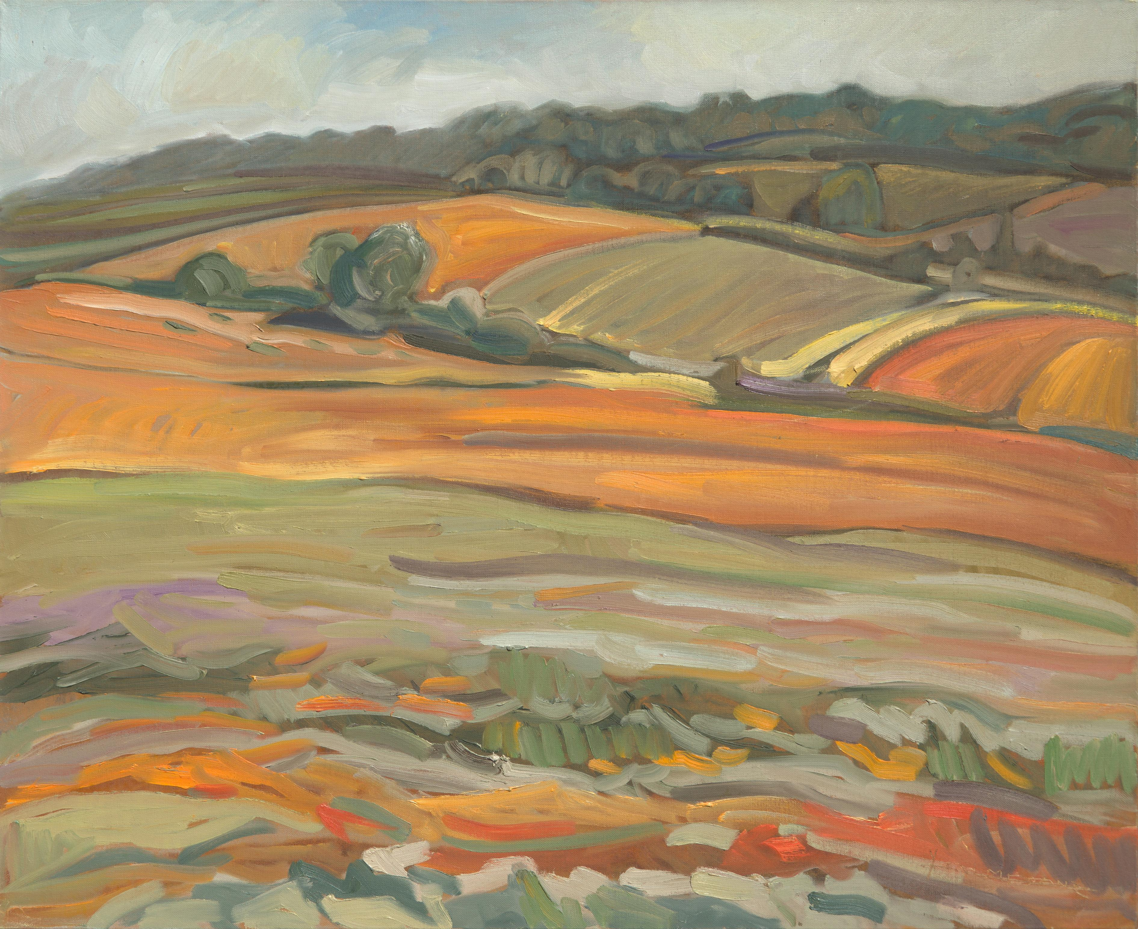 """The Naked Soil"", Warm Ochre Rural Landscape Impressionist Oil Painting"