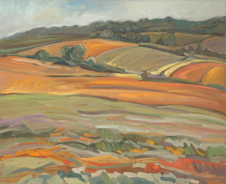 """Yves Calméjane Figurative Painting - """"The Naked Soil"""", Warm Ochre Rural Landscape Impressionist Oil Painting"""