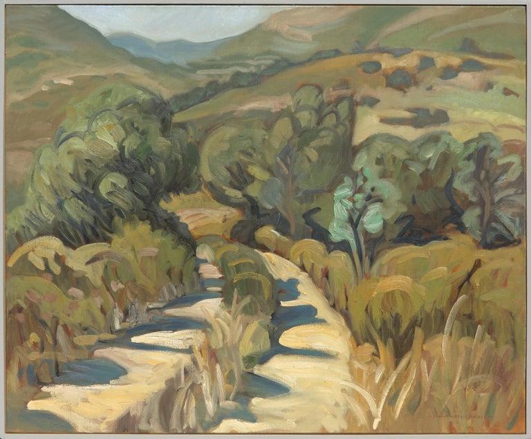 """Yves Calméjane Landscape Painting - """"Hiking Plan"""", Mountainous Dirt Path Impressionist Landscape Oil Painting"""