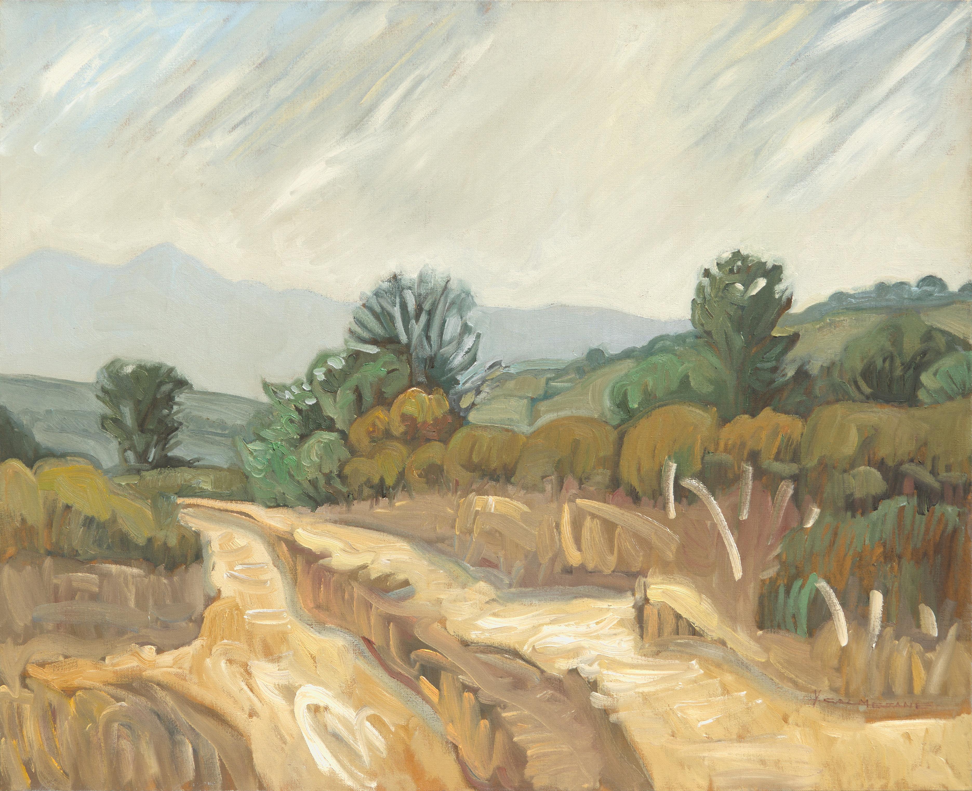"""Fire Trail"", Ochre Mountainous Dirt Road Landscape Impressionist Oil Painting"