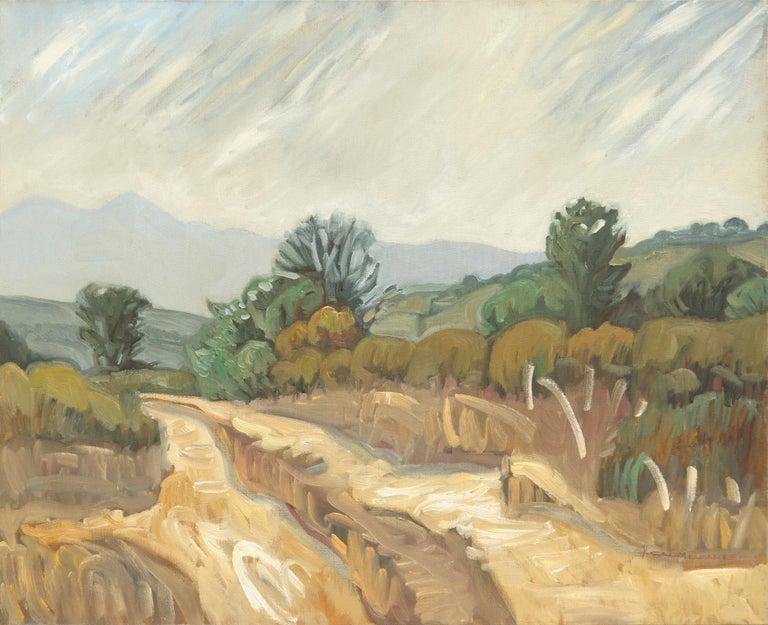 "Yves Calméjane Figurative Painting - ""Fire Trail"", Ochre Mountainous Dirt Road Landscape Impressionist Oil Painting"