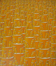 """Eldorado"", Orange Fractal-Like Vertical Constructions with Storeys Oil Painting"