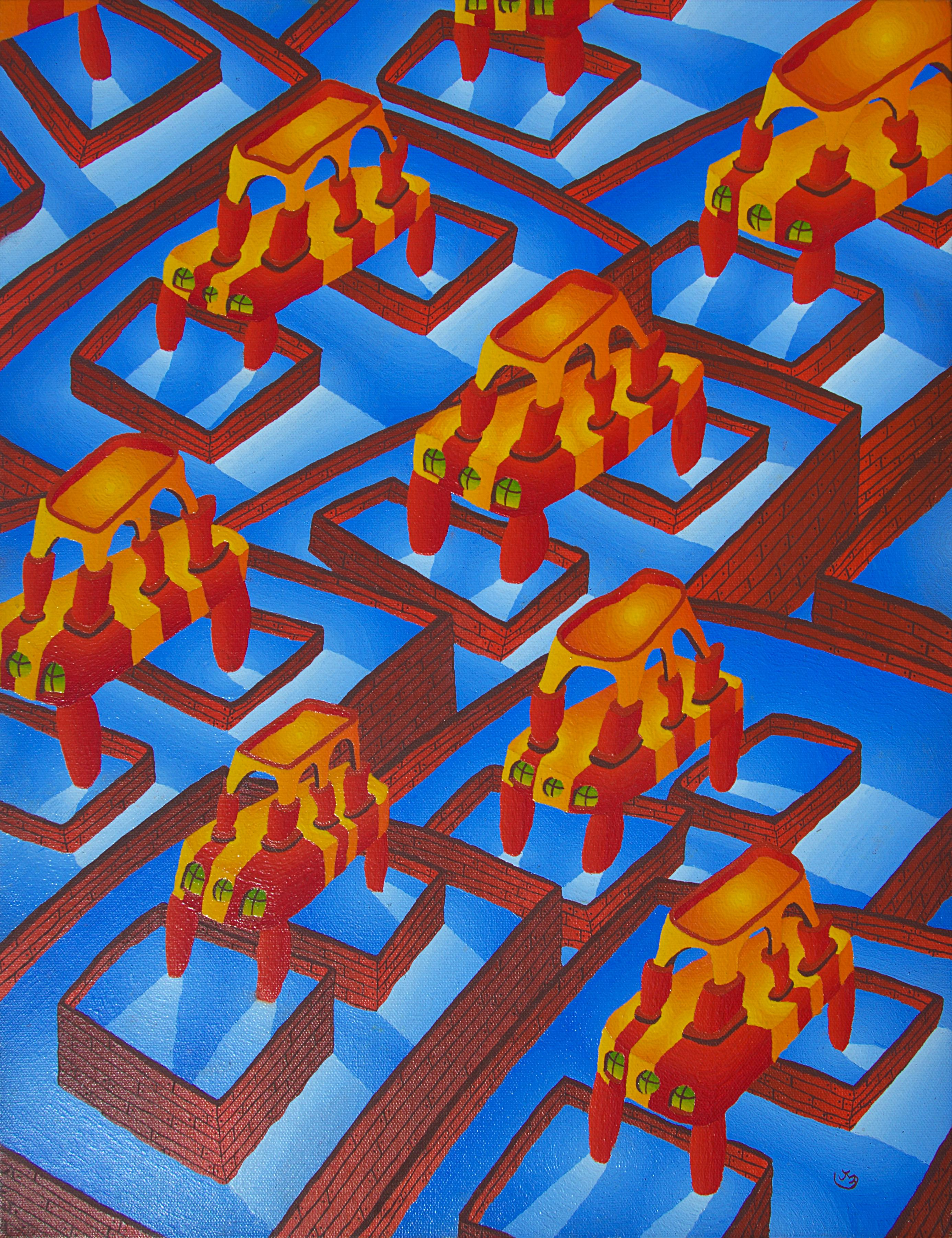 Countless Pools and Strange Red and Yellow Constructions Oil Painting