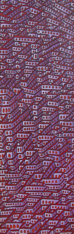 Mauve Maze of Inhabited Walls with Red Windows Vertical Oil Painting