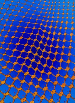 """Net 2"", Net of Orange Stairs on a Dark Blue Radial Gradient Oil Painting"