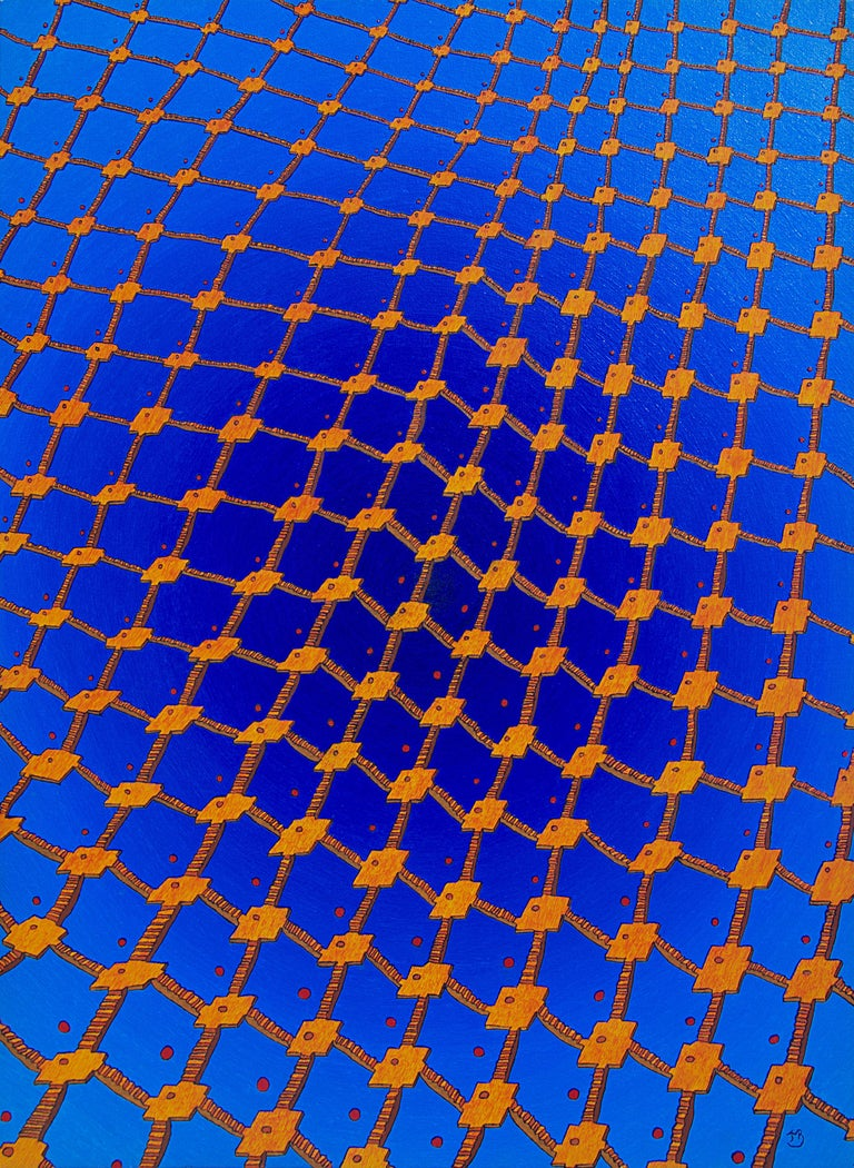 "Jean-Marc Boissy Landscape Painting - ""Net 2"", Net of Orange Stairs on a Dark Blue Radial Gradient Oil Painting"