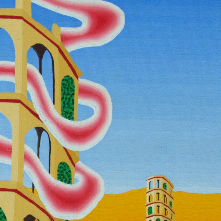 This artwork features three Pisa-like towers at different distances, on an orange ground without reliefs and a blue sky.  Some arks are sealed with green walls or vegetation.  A strange pink cloud is going through all floors of the main tower.  This