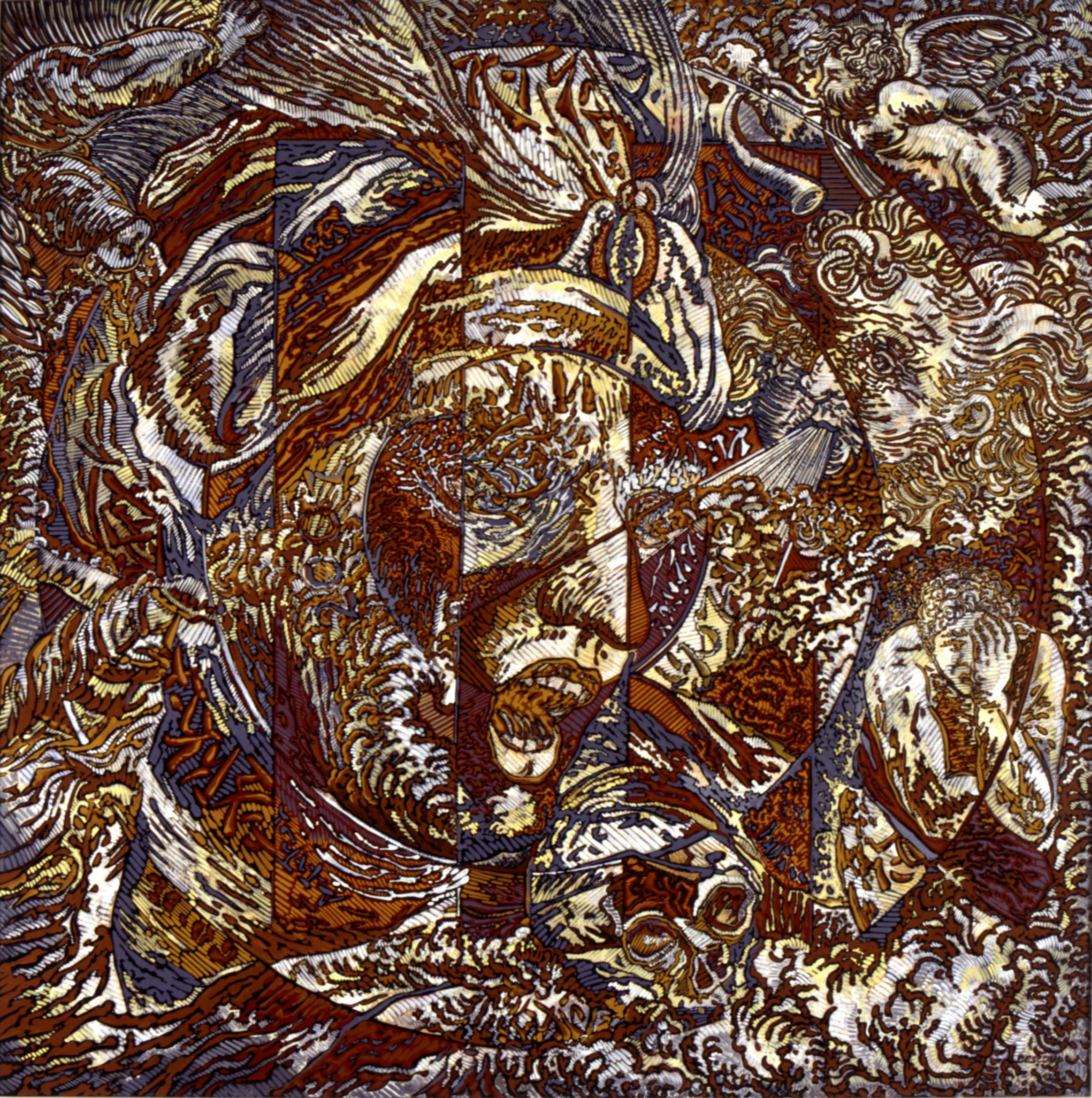 N.Y., Mythological Figure and Angels Large Squared Brown White Acrylic Painting