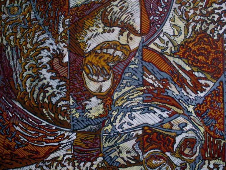 N.Y., Mythological Figure and Angels Large Squared Brown White Acrylic Painting For Sale 1