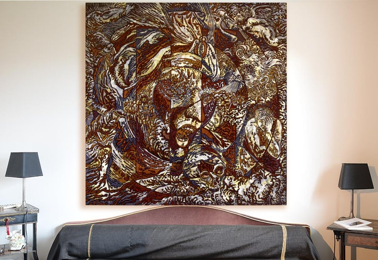 N.Y., Mythological Figure and Angels Large Squared Brown White Acrylic Painting For Sale 2