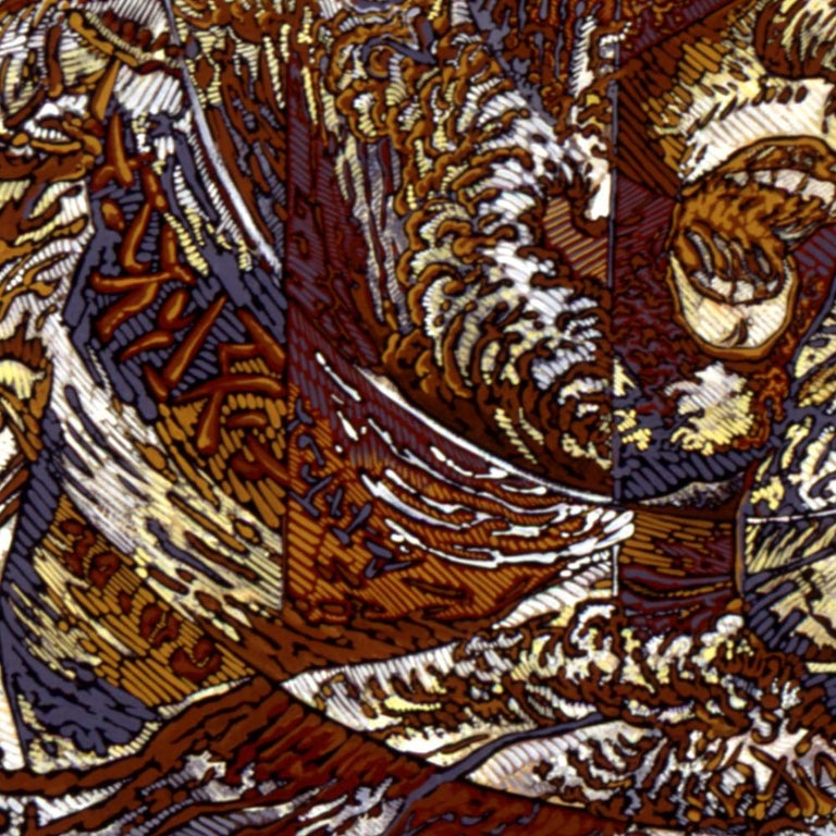 N.Y., Mythological Figure and Angels Large Squared Brown White Acrylic Painting For Sale 3