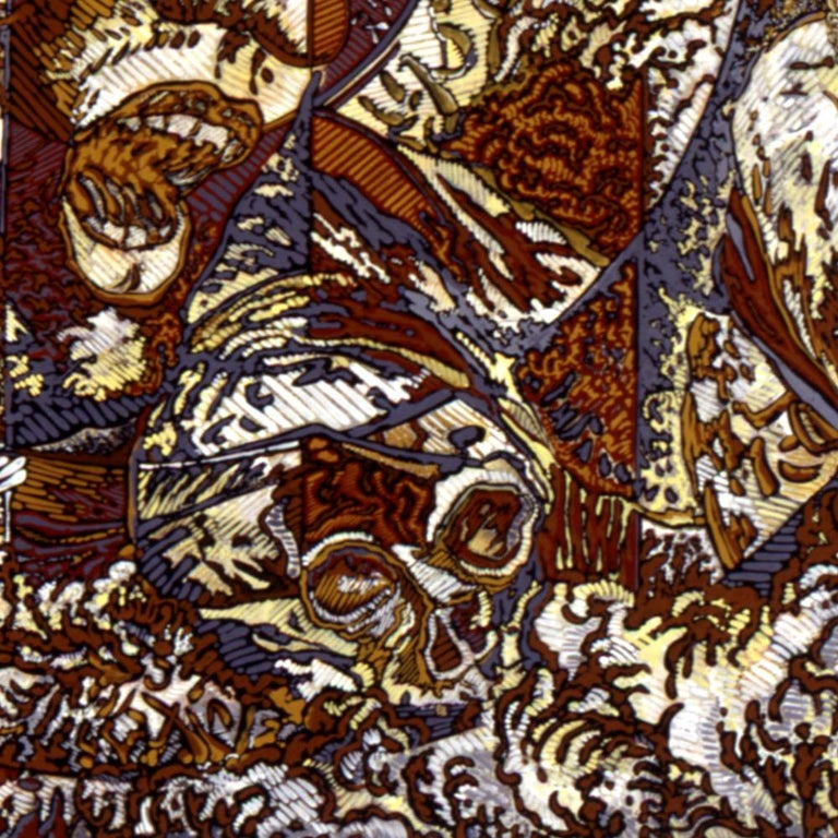 N.Y., Mythological Figure and Angels Large Squared Brown White Acrylic Painting For Sale 6