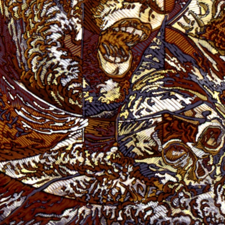N.Y., Mythological Figure and Angels Large Squared Brown White Acrylic Painting For Sale 7