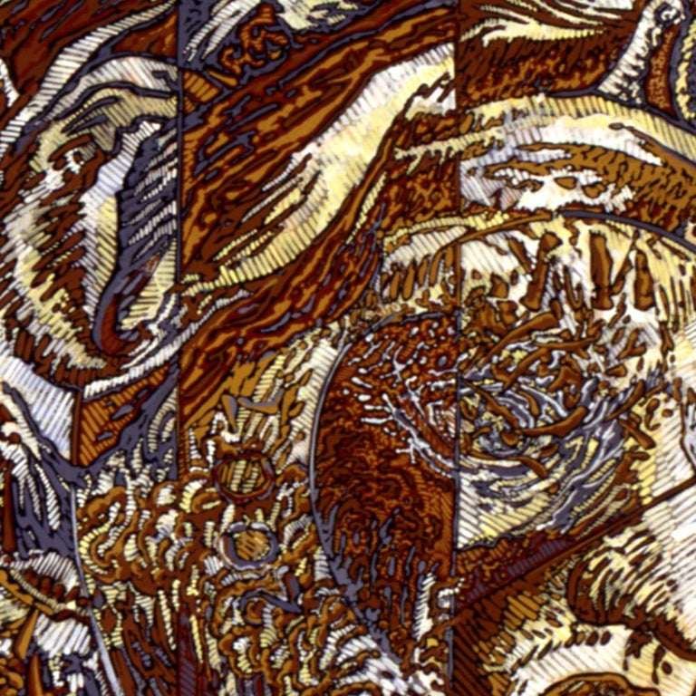 N.Y., Mythological Figure and Angels Large Squared Brown White Acrylic Painting For Sale 9