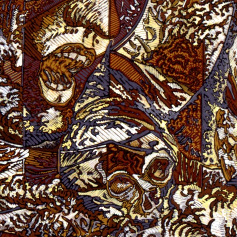N.Y., Mythological Figure and Angels Large Squared Brown White Acrylic Painting For Sale 11
