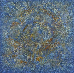 """Vénus"", Blue and Gold Mythological Goddess with Angels Squared Acrylic Painting"