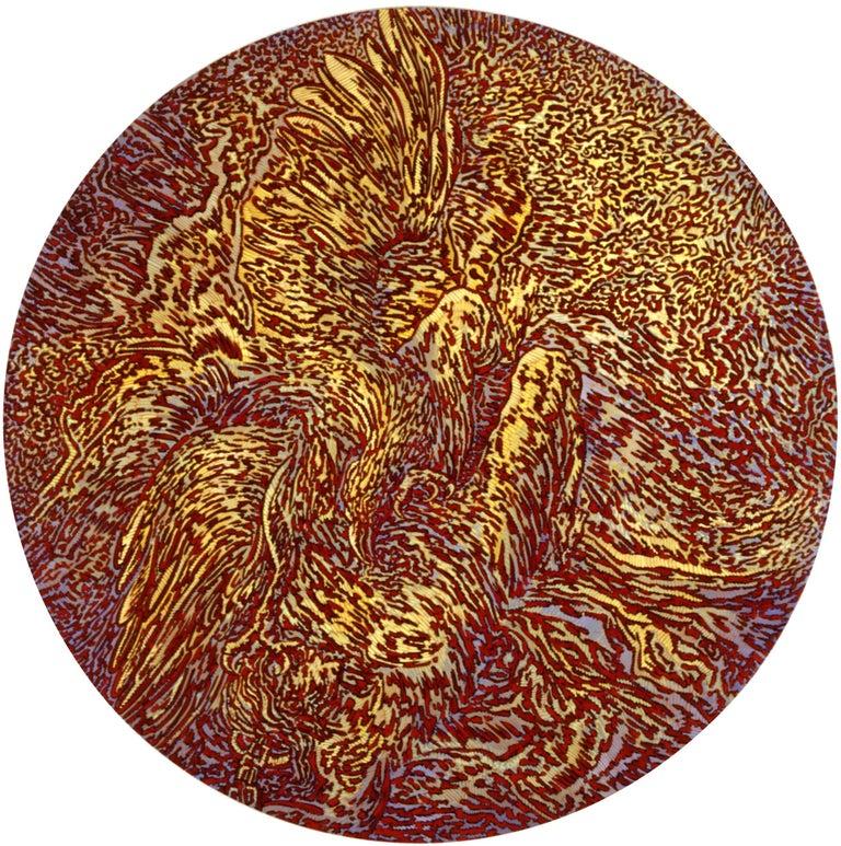 "Béatrice Bescond Abstract Painting - ""Prométhée 3"", Eagle Devouring Mythological Hero Large Circular Acrylic Painting"