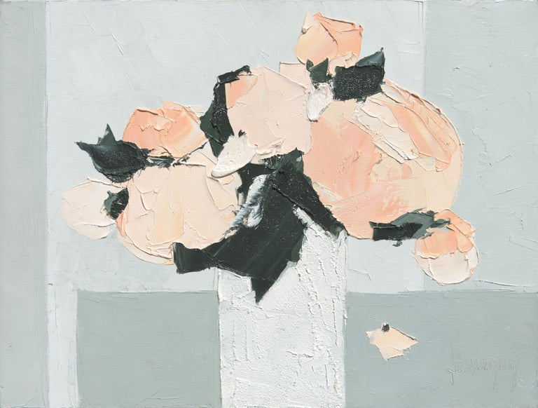 """Tenderness"", Pale Pink Flowers and Black Leaves in a White Bouquet Oil Painting 1"