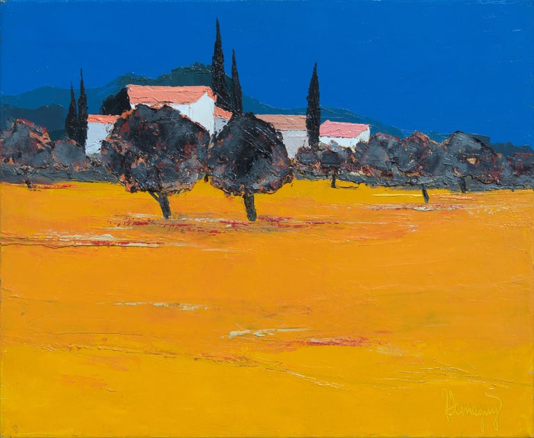 "Marcel Demagny Abstract Painting - ""The Hamlet"", Pink-Roof Houses Vivid Yellow Field and Deep Blue Sky Oil Painting"