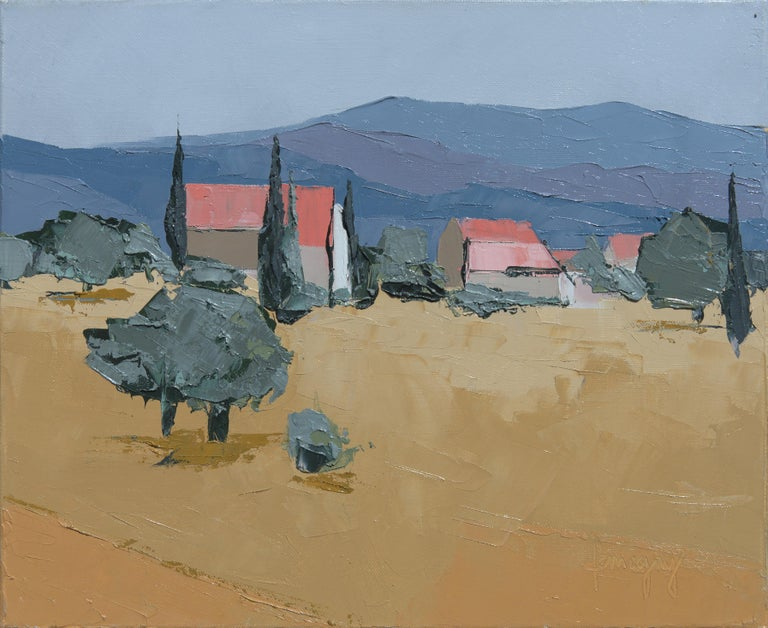 """Marcel Demagny Landscape Painting - """"Provence"""", Simple Field, Pink-Roofed Houses and Mountains Knife Oil Painting"""