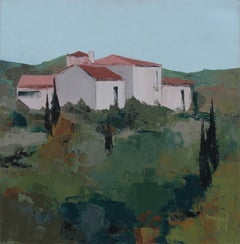 """The Houses"", Red-Roofed Provence Hamlet Squared Landscape Knife Oil Painting"