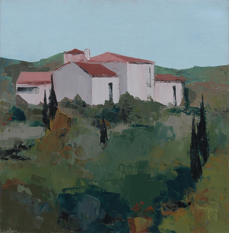 """Marcel Demagny Abstract Painting - """"The Houses"""", Red-Roofed Provence Hamlet Squared Landscape Knife Oil Painting"""