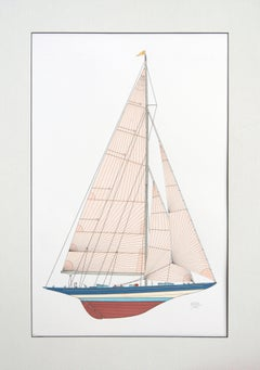 """Ranger"", 1937 America's Cup Winner J-Class Racing Yacht Sailboat Ink on Paper"