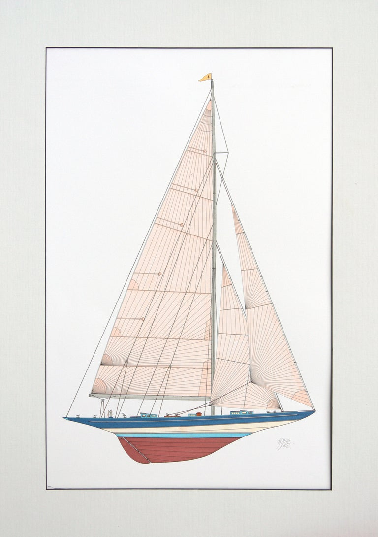 This artwork depicts the Ranger, last J-class racing yacht to race for the America's Cup, defeating the Endeavour II in 1937.  The artist can draw custom designs on demand, feel free to enquire with us.  The artwork is delivered with a mat, but not