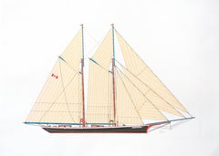 """Mohawk"", Full Sail Black and Red Canadian Schooner Ink Drawing"