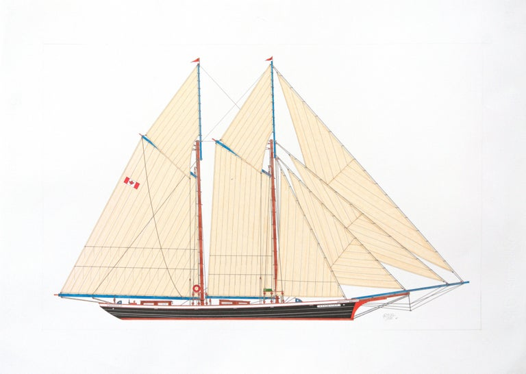 This artwork depicts a Canadian schooner named Mohawk, hailing from Vancouver.  The boat has blue booms, brown masts, black and white hull, red keel and bow.  The artist can draw custom designs on demand, feel free to enquire with us.  The artwork