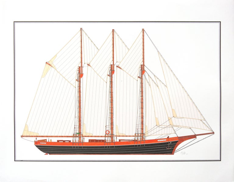 This artwork depicts a three-masted schooner named Freedom, hailing from New-York.  The boat has brown booms, masts, keel and bow, and black and orange hull.  The artist can draw custom designs on demand, feel free to enquire with us.  The artwork