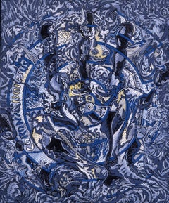 """Corona Borealis"", Blue Sitted Minotaur Throuh Open Hand and Blowing Angels"