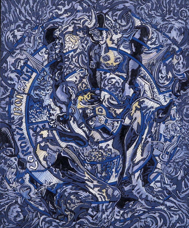 """Béatrice Bescond Figurative Painting - """"Corona Borealis"""", Blue Sitted Minotaur Throuh Open Hand and Blowing Angels"""