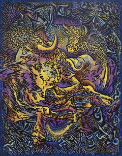 """Mythorology"", Gold Bulls on Purple and Blue Acrylic Painting"