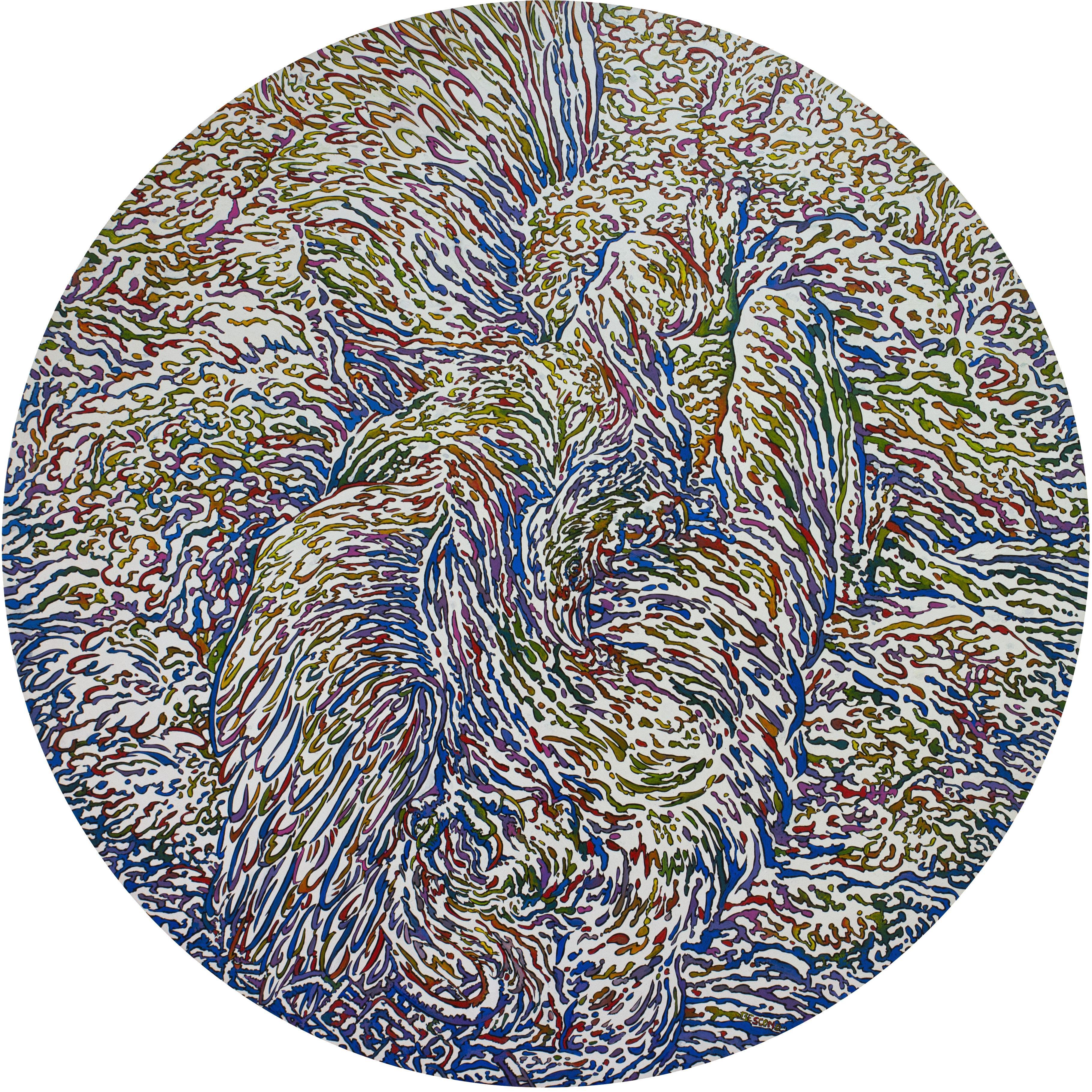 """Prométhée 4"", Eagle Devouring Mythological Hero Large Circular Acrylic Painting"